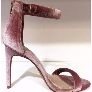 Rose velvet single strap heels